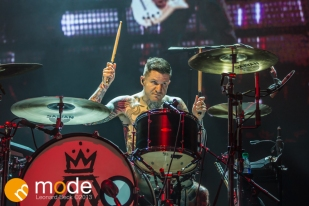 Drummer ANDY HURLEY of Fall Out Boy performs at the Palace of Auburn Hills Michigan on Sept 14th 2013