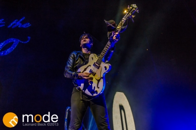 Bassist DALLON WEEKES of Panic! at the Disco performs at the Palace of Auburn Hills Michigan on Sept 14th 2013