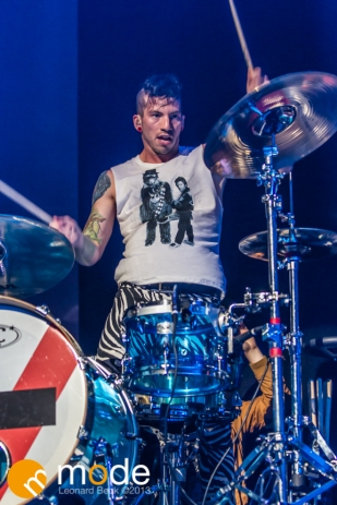 Drummer JOSH DUN of Twenty One Pilots performs at the Palace of Auburn Hills Michigan on Sept 14th 2013