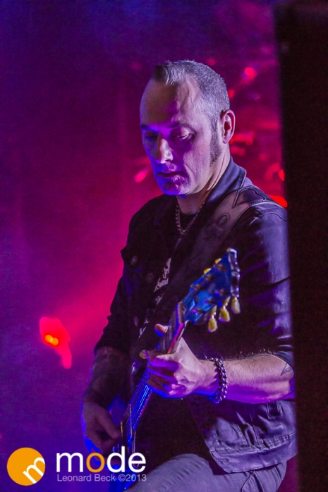 Guitarist/Bassist JULES HODGSON of KMFDM performing at Magic Stick in Detroit Michigan on Oct 26th 2013