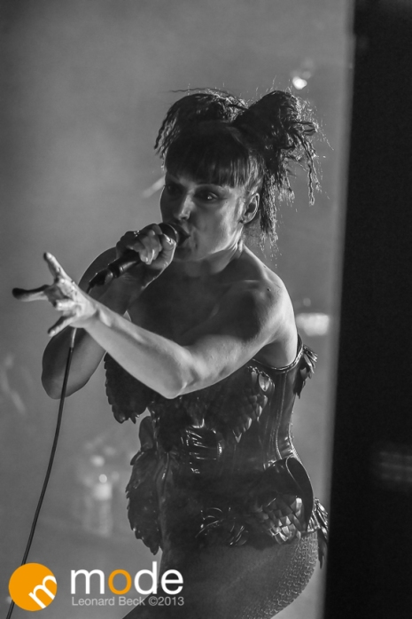 Vocalist LUCIA CIFARELLI of KMFDM performing at Magic Stick in Detroit Michigan on Oct 26th 2013