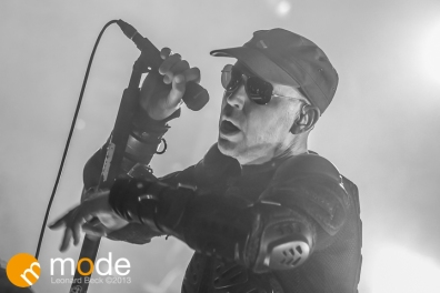 Vocalist SASCHA KONIETZKO of KMFDM performing at Magic Stick in Detroit Michigan on Oct 26th 2013