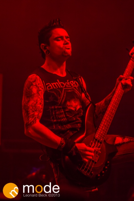 Bassist JASON JAMES of Bullet For My Valentine performs at the Fillmore in Detroit Michigan on Oct 12th 2013