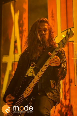 Bassist NICHOLAS DILTZ of All Hail The Yeti performs at Royal Oak Music Theatre in Michigan on Jan 14th 2014