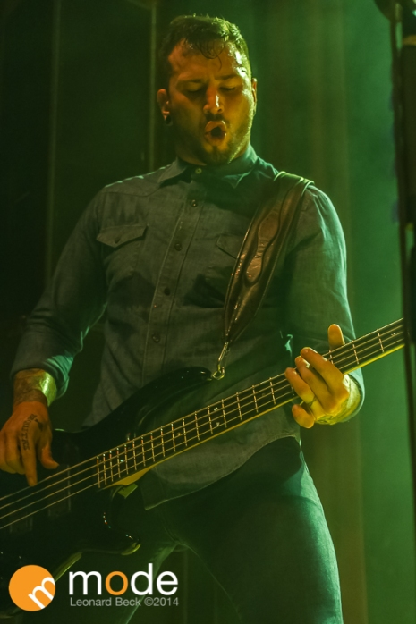 "Bass Guitarist JOEY ""CHICAGO"" WALSER of Devour The Day performs at Royal Oak Music Theatre in Michigan on Jan 14th 2014"