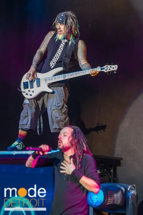 Korn performing at Rockstar Energy Drink Mayhem Festival in Clarkston Michigan at DTE Energy Music Theatre on July 17th 2014