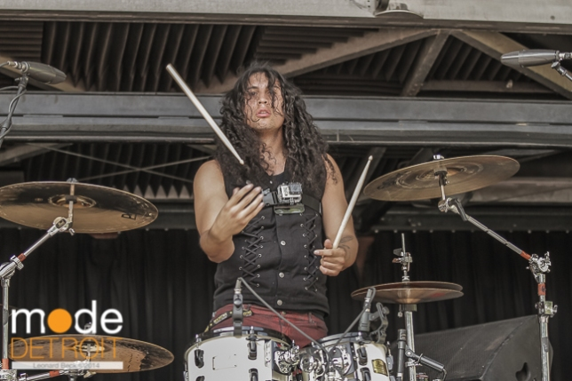 Escape The Fate performing at Rockstar Energy Drink Uproar Festival in Clarkston Michigan at DTE Energy Music Theatre on August 15th 2014