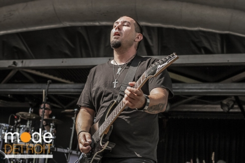 Three Years Hollow performing at Rockstar Energy Drink Uproar Festival in Clarkston Michigan at DTE Energy Music Theatre on August 15th 2014