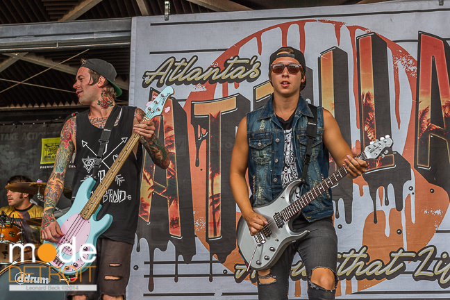 Attila performing at Vans Warped Tour in Auburn Hills Michigan at The Palace of Auburn Hills on July 18th 2014