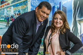 Larry Alexander, President and CEO of the Detroit Metro Convention & Visitors Bureau & Melissa DiVietri of DI Design at ASAE at on Aug 10 2015