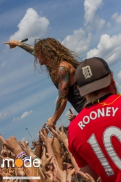 Miss May I performing at 21st Vans Warped Tour in Auburn Hills Michigan at The Palace of Auburn Hills on July 24th 2015
