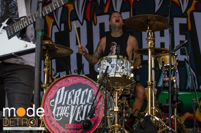 Pierce the Veil performing at 21st Vans Warped Tour on the Unicorn stage in Auburn Hills Michigan at The Palace of Auburn Hills on July 24th 2015